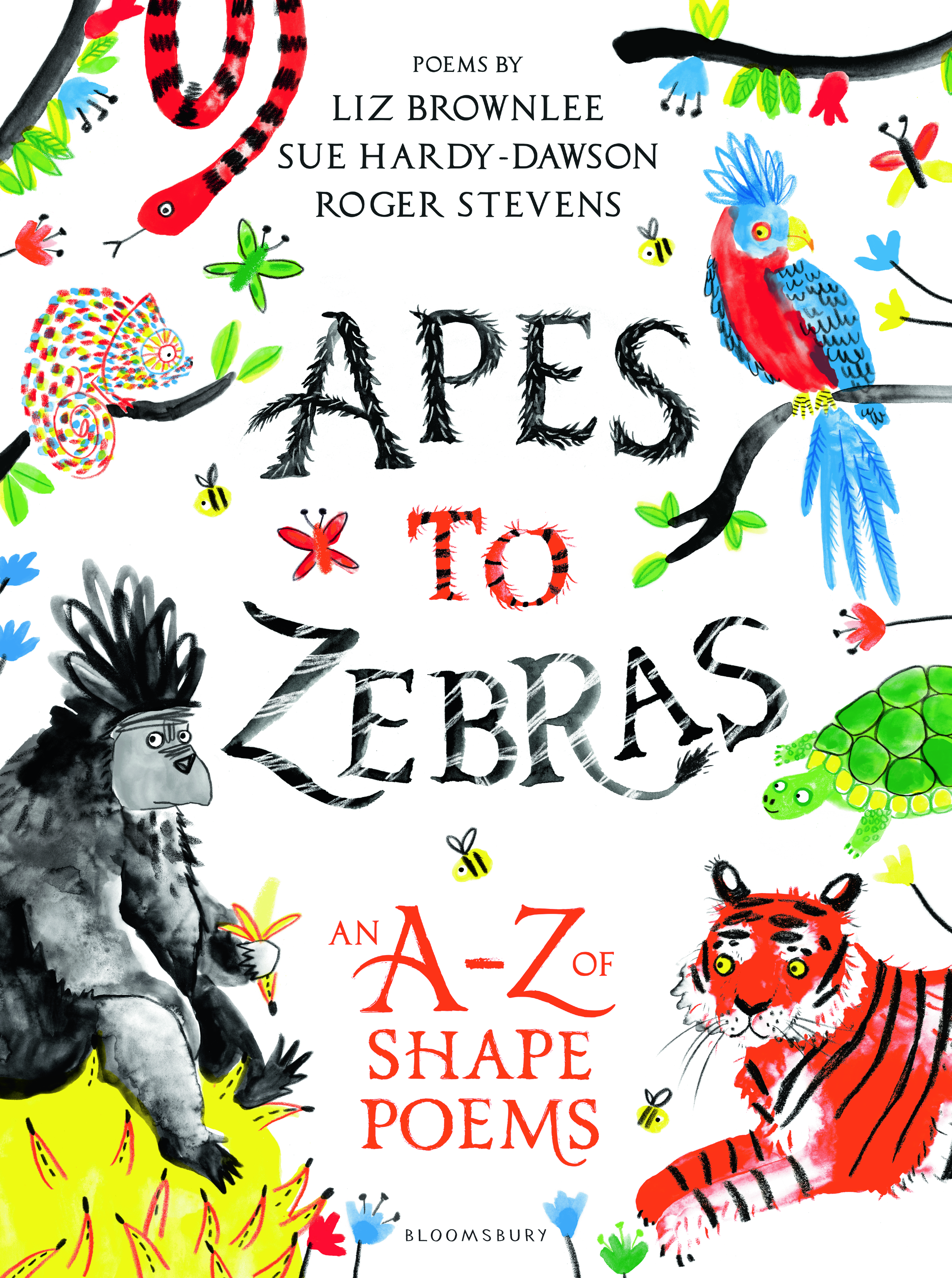 Apes to Zebras, An A-Z of Animal Shape Poems. A extraordinary book full of poems in the shapes of the animals they are about. Great fun and educational.